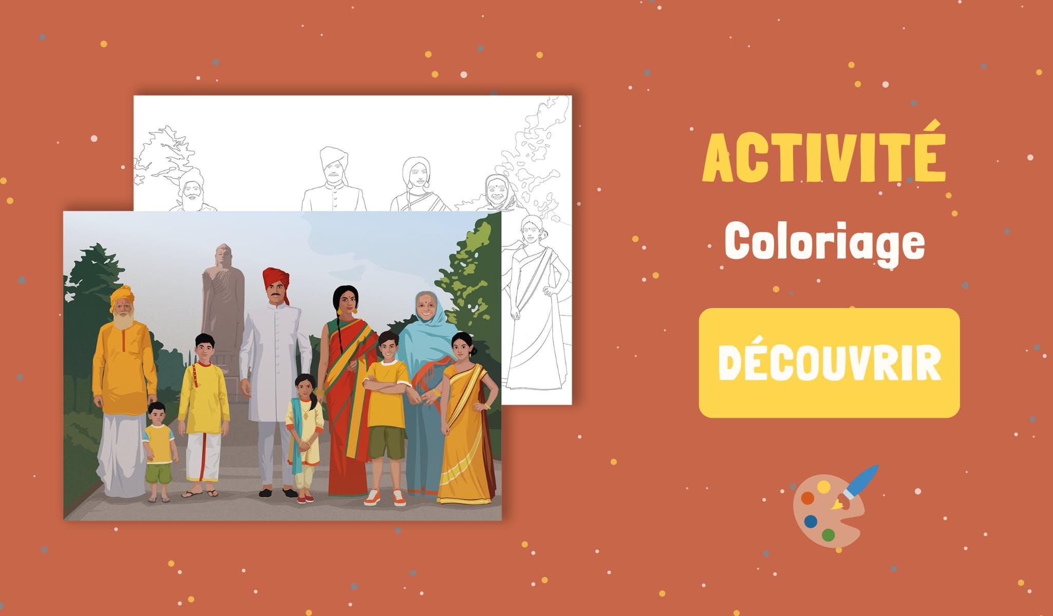 Activité Mysteriokid à télécharger gratuitement : coloriage sur le thème de l'Inde