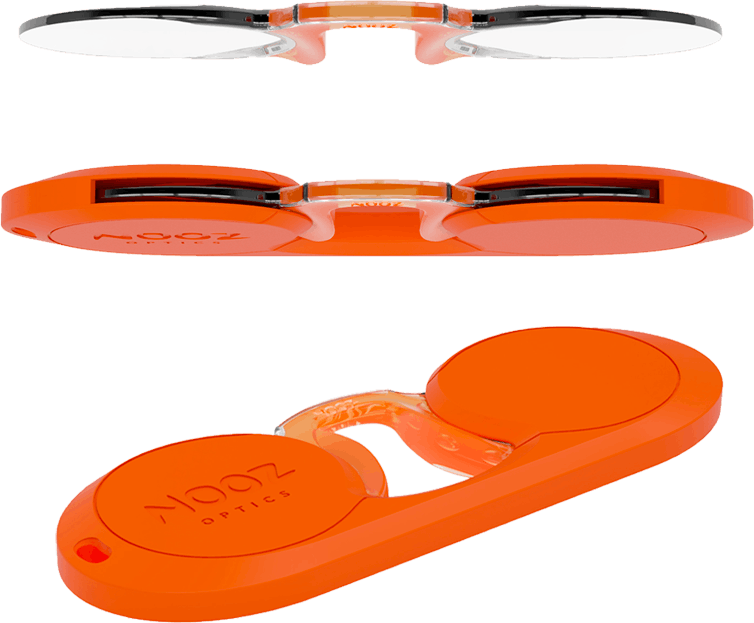Nooz optics original armless reading glasses orange oval