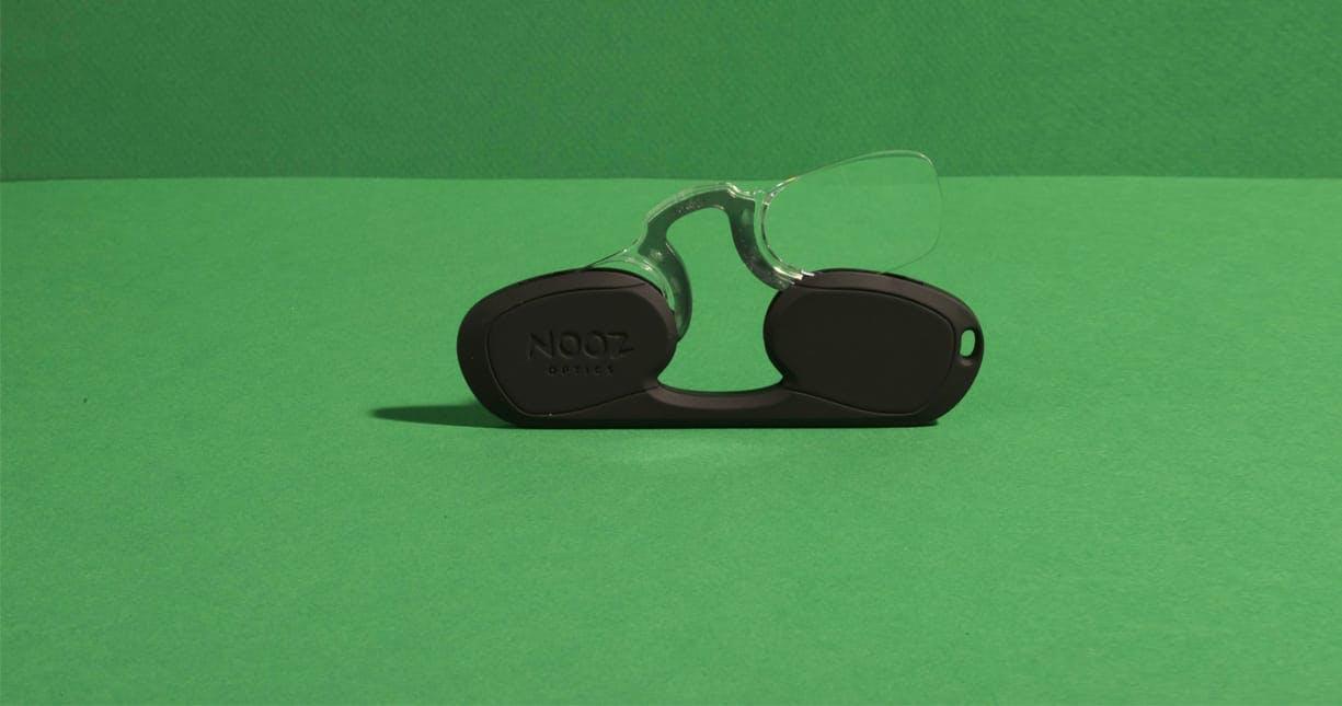 Nooz Optics original black rectangular armless reading glasses