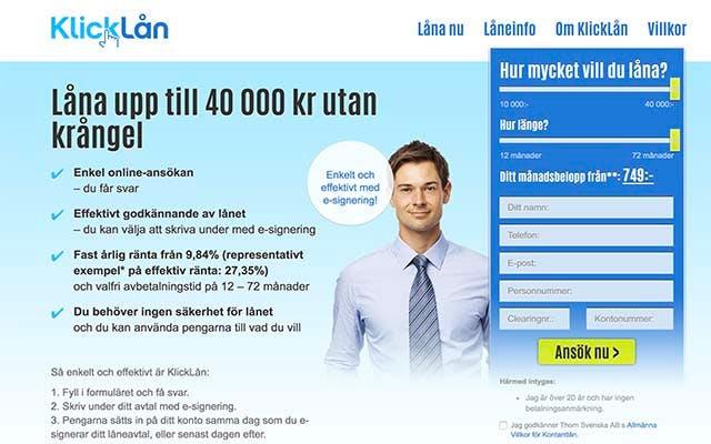 Klicklån - låna upp till 40 000 kr