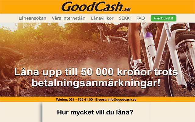 GoodCash - låna upp till 50 000 kronor trots betalningsanmärkningar