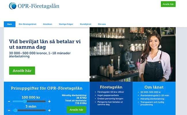 OPR-Företagslån hemsida