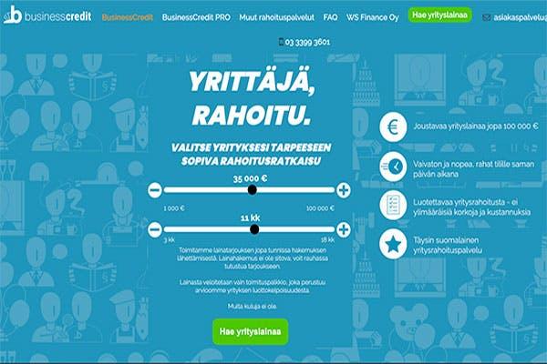 Businesscredit.fi yrityslainaa jopa 100 000 €