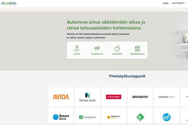 VertaaEnsin.fi kotisivu