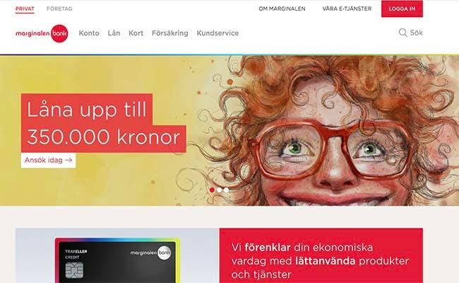 Marginalen Bank hemsida