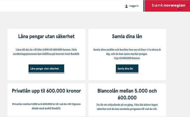 Bank Norwegian lån