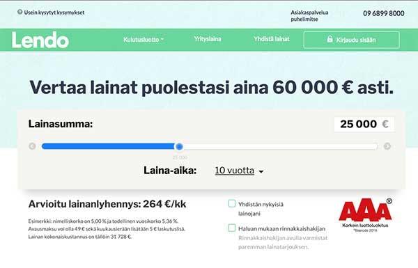 Lendo.fi kotisivu