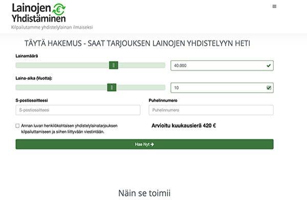 LainojenYhdistaminen.com on nopea lainojen vertailupalvelu