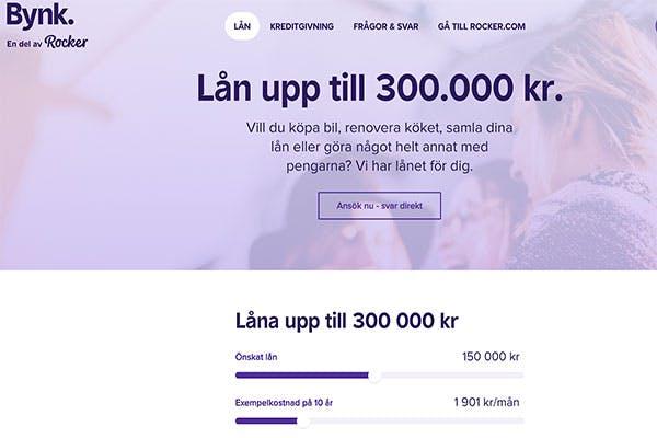 Bynk långivare - låna upp till 300 000kr
