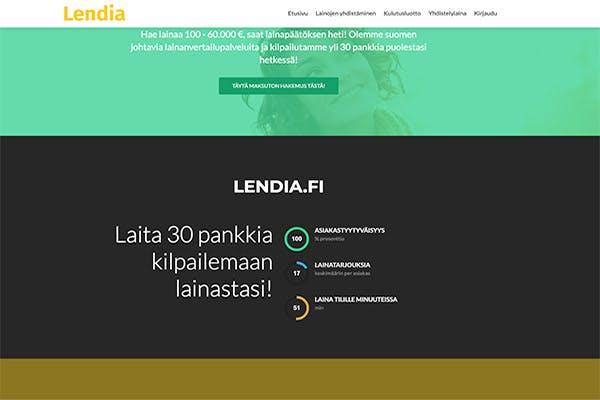 Lendia.fi kotisivu