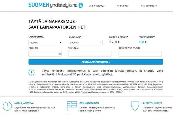 Suomenyhdistelylaina.fi kotisivu