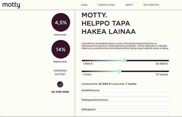 Motty.fi lainapalvelun kotisivu