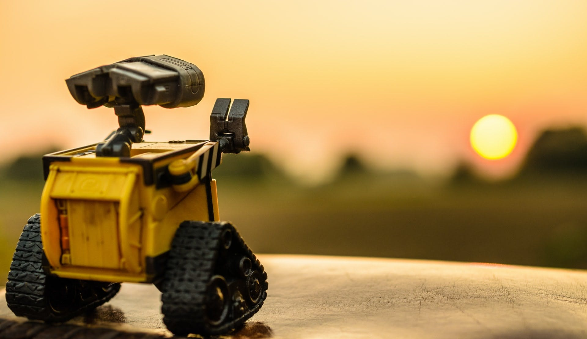 Robô olhando para o horizonte