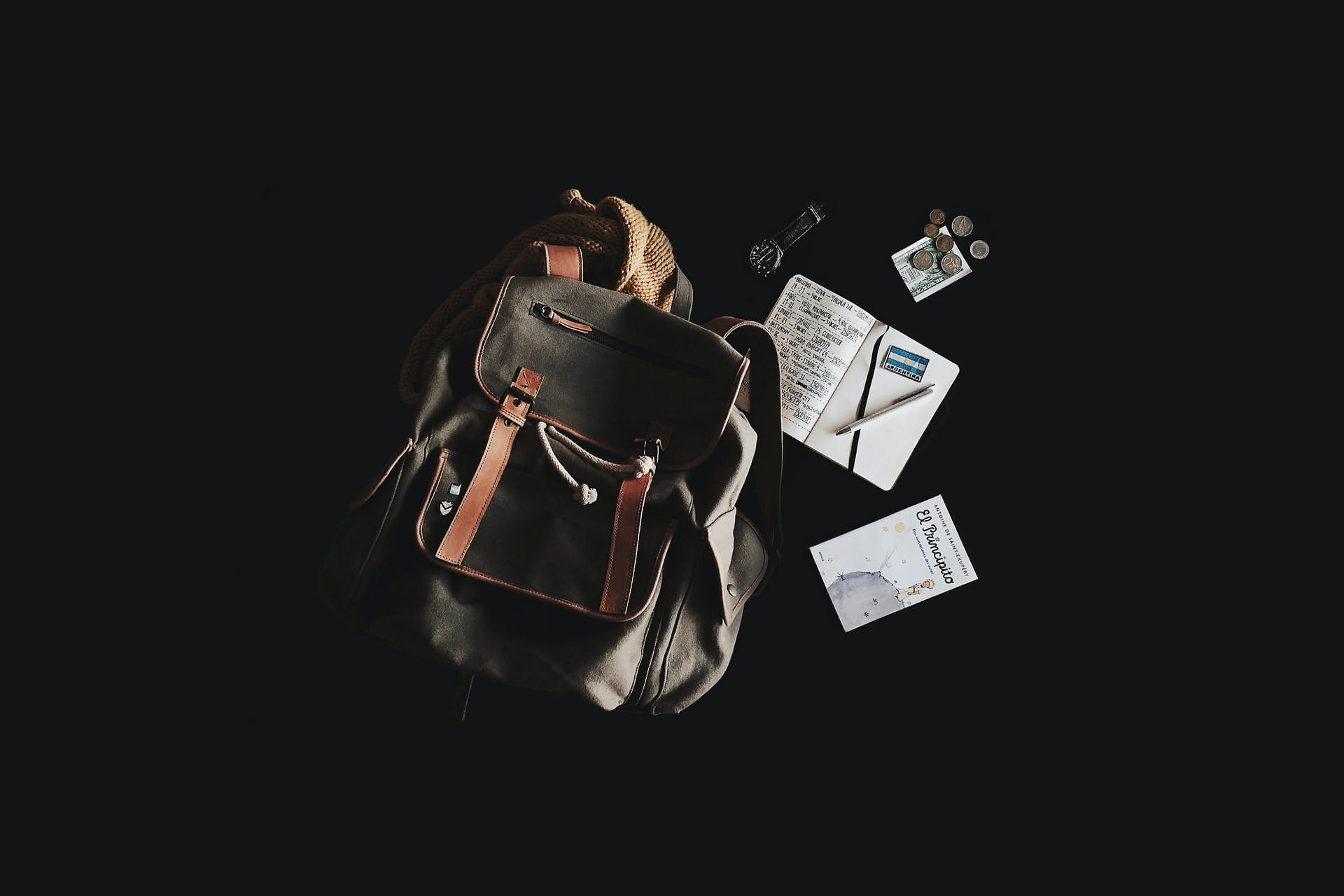 Mochila com passaporte, relógio e algumas moedas