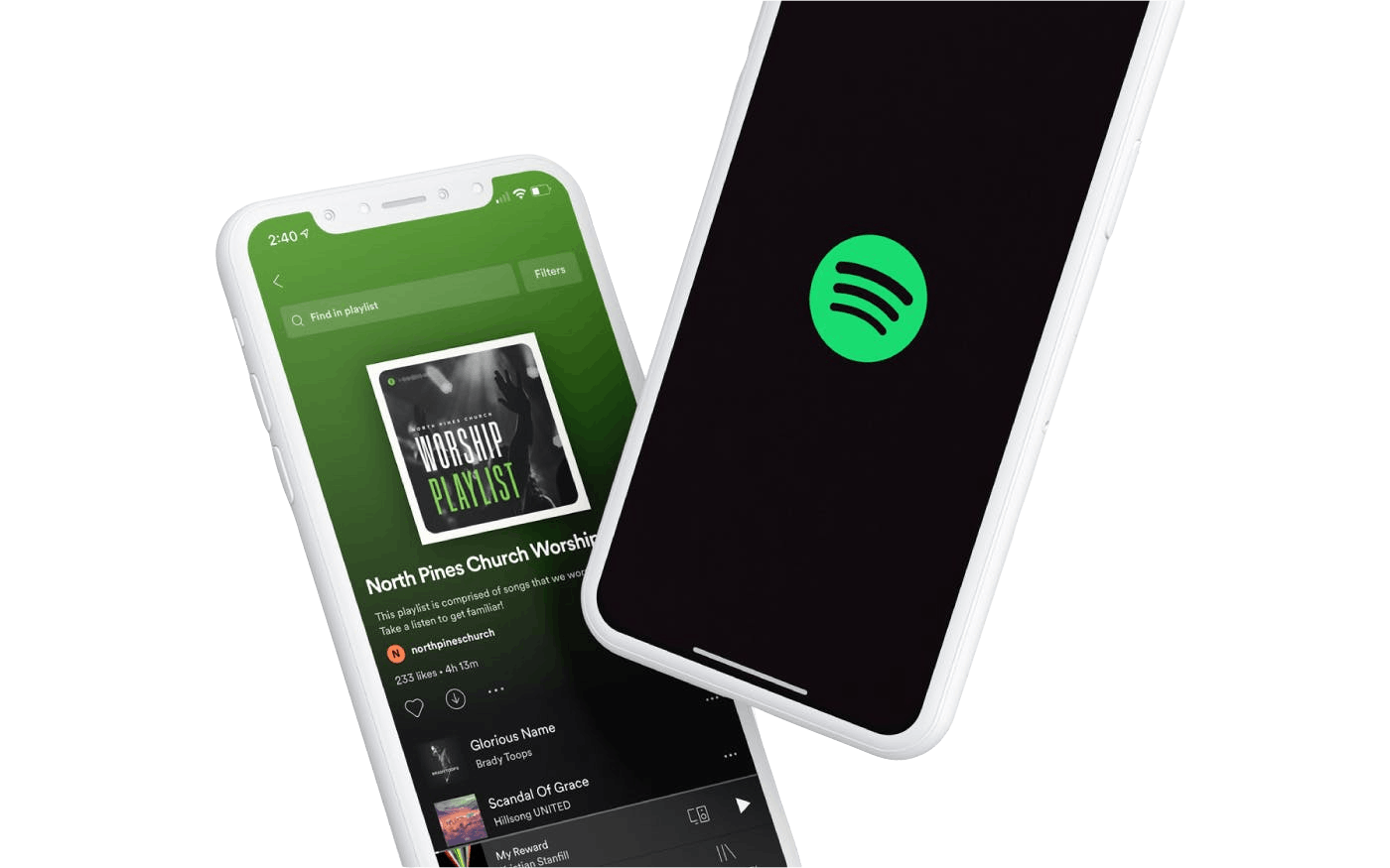 Mobile phone with North Pines Church Spotify playlist opened.
