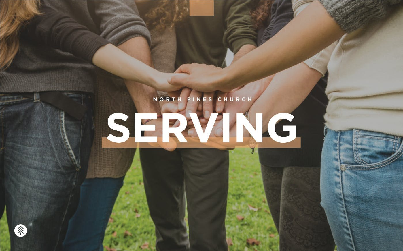 Circle of friends placing hands on top of each other with Serving text overlay.