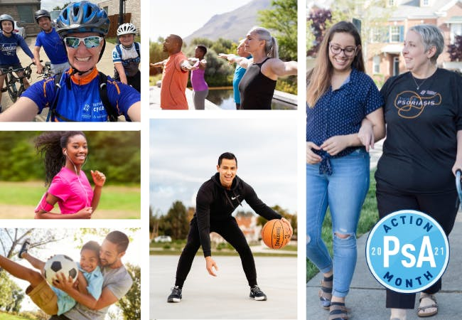 Photo collage of people doing healthy activities.