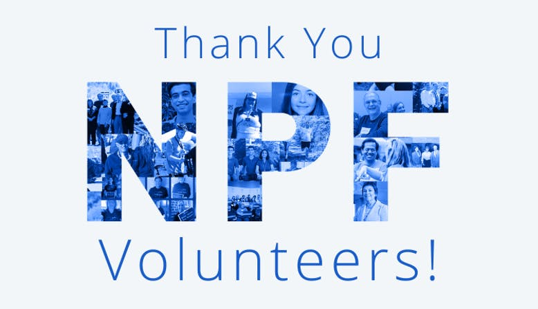 """Graphic with text """"Thank You NPF Volunteers!"""" and a photo collage."""