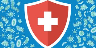An illustrated medical symbol surrounded by illustrated germs.