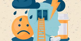 An illustration of clouds and thunder with a sad face to symbolize chronic pain.