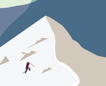 An illustration of a mountain climber reaching a snowy peak.