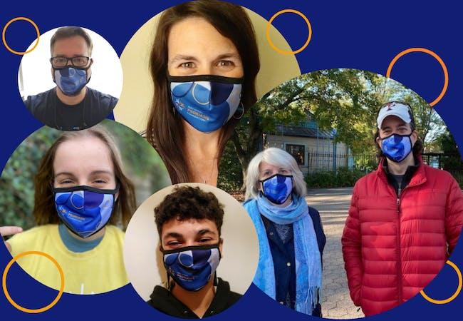 Photo collage of people wearing NPF masks.