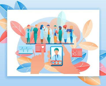 An illustration featuring health care providers and technology.