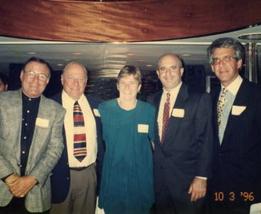 Bob Ginsberg, Bob Becker, Gail Zimmerman, Seth Wohlberg and  Marty Wolfberg smile for a picture.