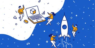 Illustrated graphic of people around a rocket ship and computer.