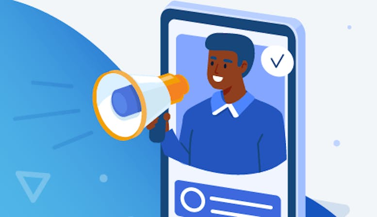 Illustration of a man with a megaphone on a mobile device.