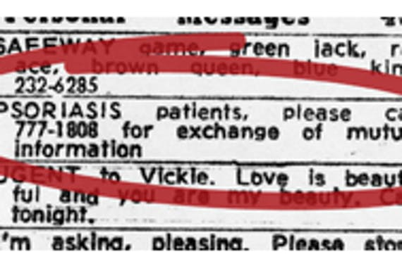 A copy of the classified ad that started the National Psoriasis Foundation.