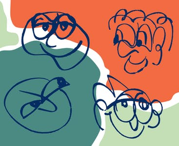 Illustration of four faces to represent psoriatic arthritis, rheumatoid arthritis, osteoarthritis and gout.