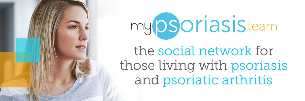 "Graphic with a photo of a woman with text ""MyPsoriasisTeam the social network for those living with psoriasis and psoriatic arthritis""."