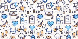 Illustration with multiple icons representing healthy living, eating and staying active.