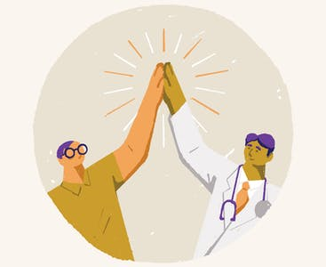 An illustration of a doctor and patient high-fiving.
