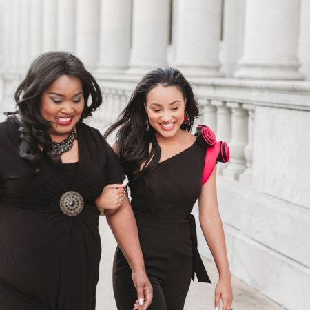 Dedra and Tiara Pennington walk outside the Alabama capitol, where as Miss Alabama, Tiara advocates for those with psoriatic disease.