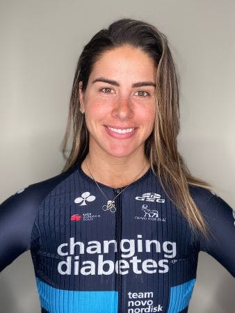 Professional cyclist Mandy Marquardt of team Novo Nordisk, who has psoriasis, smiles in her 'changing diabetes' kit.