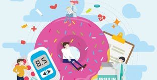 An illustrated image of patients and medical professionals sitting around a large donut.