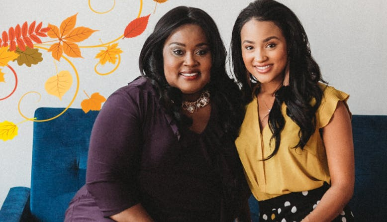 Dedra and Tiara Pennington sitting on a couch with a fall leaf graphic.