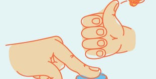 Two illustrated hands, one pushing a button, one giving a thumbs up.