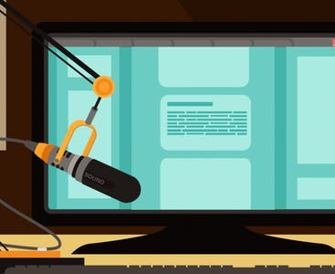 Illustration of a computer and a microphone.