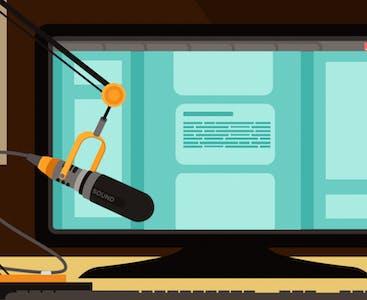 Illustrazione di un computer e un microfono.