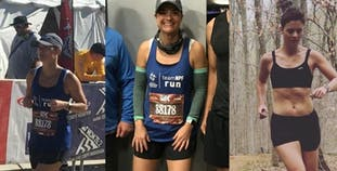 Jennifer Kerner in three photos of her running and training for Team NPF.