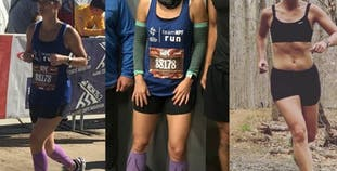 Jennifer Kerner in three photos of her running and training for Team NPF.