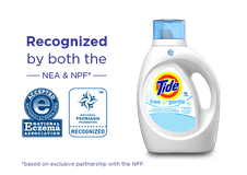 A bottle of Tide Free and Gentle Liquid Laundry Detergent