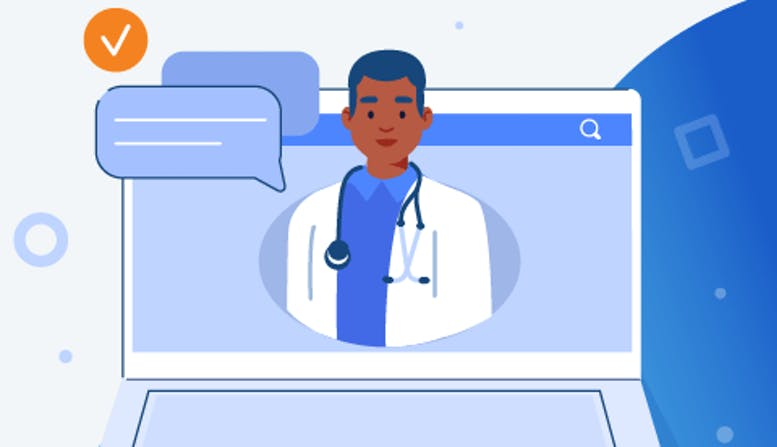 Illustration of a doctor appearing on a laptop screen.