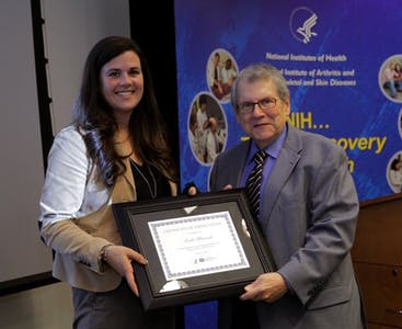 Stephen Katz receiving an award from NPF.