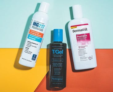 Bottles of shampoo for scalp psoriasis.