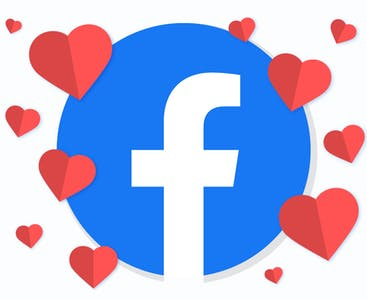 Illustrated Facebook logo surrounded by hearts.