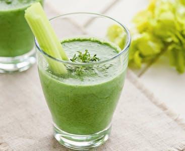 A glass of celery juice.
